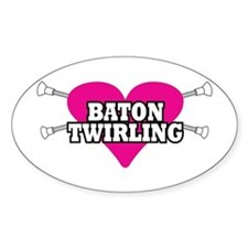 I Heart Baton Twirling Oval Decal