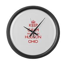 Keep calm we live in Hudson Ohio Large Wall Clock