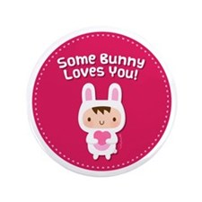 "Cute Bunny Loves You Confession 3.5"" Button"