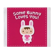 Cute Bunny Loves You Confession Throw Blanket