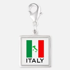 italy flag 00 Silver Square Charm