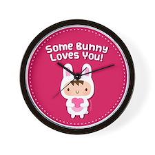 Cute Happy bunny day Wall Clock