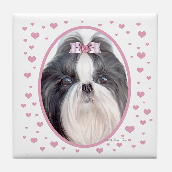 Shih Tzu Hearts Tile Coaster