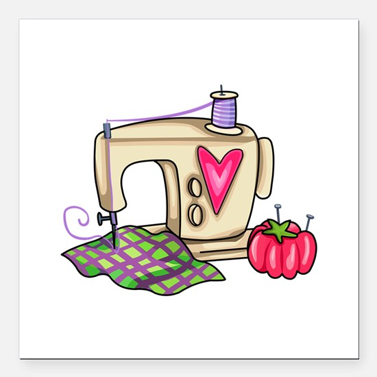 "SEWING MACHINE Square Car Magnet 3"" x 3"""