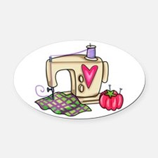 SEWING MACHINE Oval Car Magnet