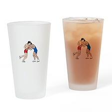 WRESTLERS Drinking Glass