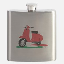 Retro Moped Red Flask