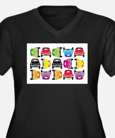 Retro Cars Rainbow Plus Size T-Shirt