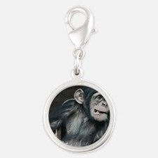 young chimpanzee Silver Round Charm