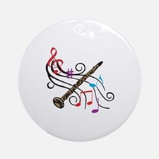 CLARINET WITH MUSIC Ornament (Round)