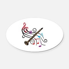 CLARINET WITH MUSIC Oval Car Magnet