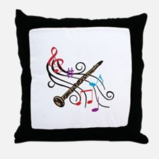 CLARINET WITH MUSIC Throw Pillow
