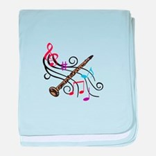 CLARINET WITH MUSIC baby blanket