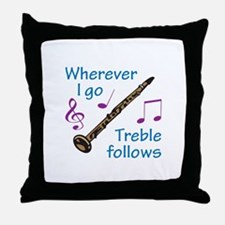 TREBLE FOLLOWS Throw Pillow