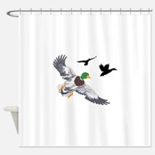 SMALL MALLARDS IN FLIGHT Shower Curtain