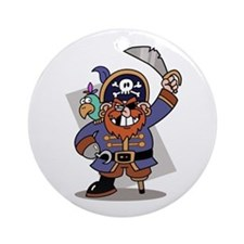 Cartoon Pirate with Parrot Ornament (Round)