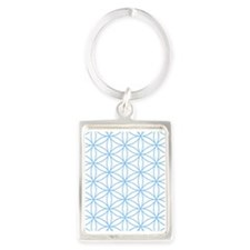 Flower of Life Lt Blue/Wt Keychains