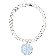 Flower of Life Lt Blue/Wt Charm Bracelet, One Char