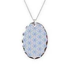 Flower of Life Lt Blue/Wt Necklace Oval Charm