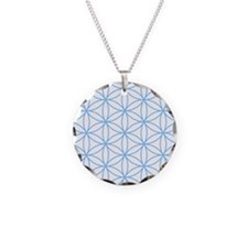 Flower of Life Lt Blue/Wt Necklace Circle Charm