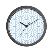Flower of Life Lt Blue/Wt Wall Clock
