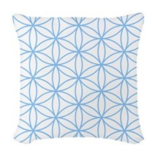 Flower Of Life Lt Blue/wt Woven Throw Pillow