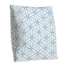 Flower Of Life Lt Blue/wt Burlap Throw Pillow