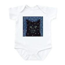 Black Cat in Falling Snow Infant Creeper