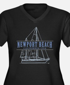 Newport Beac Women's Plus Size V-Neck Dark T-Shirt