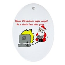 Santa's Video Games Oval Ornament