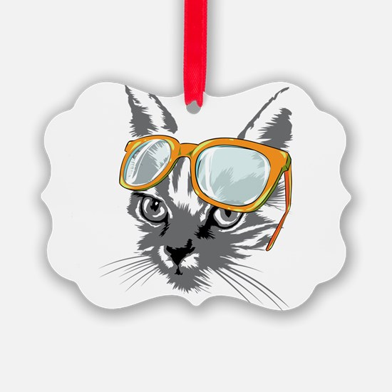 Cool Cat Hipster Ornament