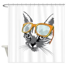 Cool Cat Hipster Shower Curtain