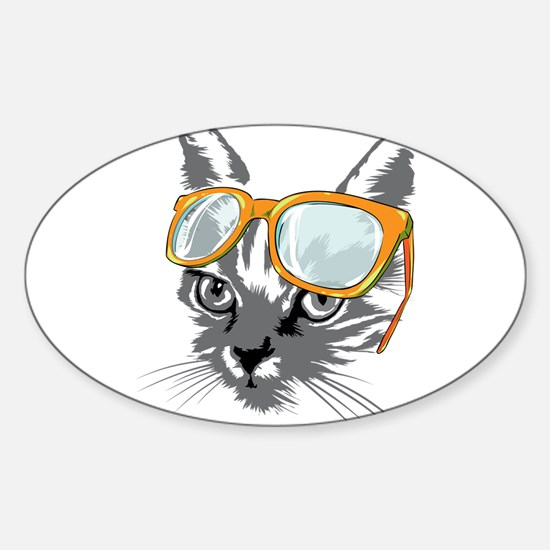Cool Cat Hipster Decal