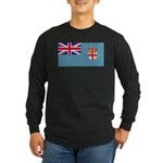 Fiji Fijian Blank Flag Long Sleeve Dark T-Shirt