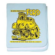 Eat Dirt vintage hot rod custom car baby blanket