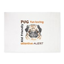 PUG DOG TRAITS 5'x7'Area Rug