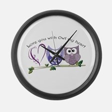 Love you with Owl my heart Large Wall Clock