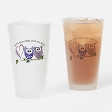 Love you with Owl my heart Drinking Glass