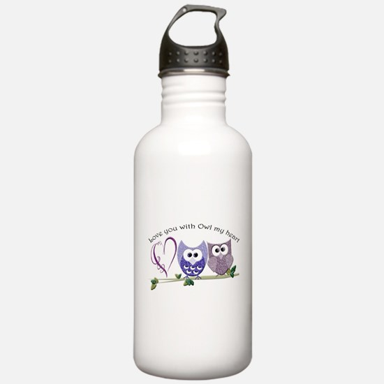 Love you with Owl my h Water Bottle