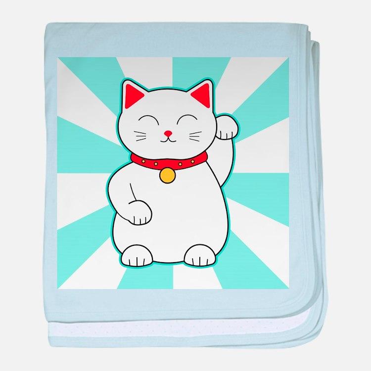 White Lucky Cat baby blanket