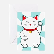 White Lucky Cat Greeting Cards