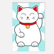 White Lucky Cat Postcards (Package of 8)