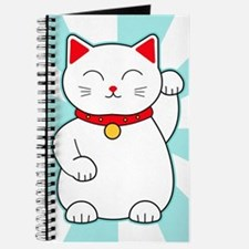 White Lucky Cat Journal