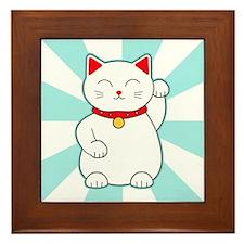 White Lucky Cat Framed Tile