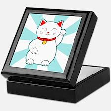 White Lucky Cat Keepsake Box