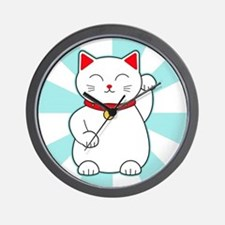 White Lucky Cat Wall Clock