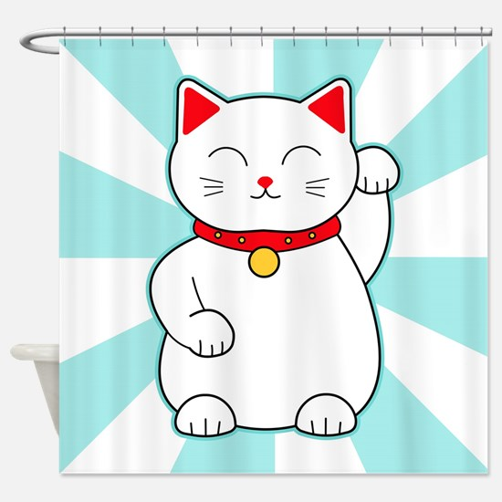White Lucky Cat Shower Curtain