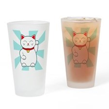 White Lucky Cat Drinking Glass