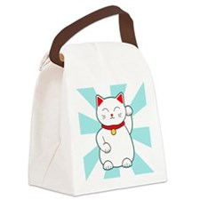 White Lucky Cat Canvas Lunch Bag