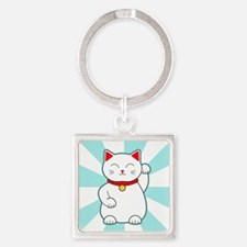 White Lucky Cat Keychains